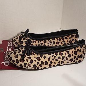 NWT Dearfoams Leopard Ballerina Flat Slippers